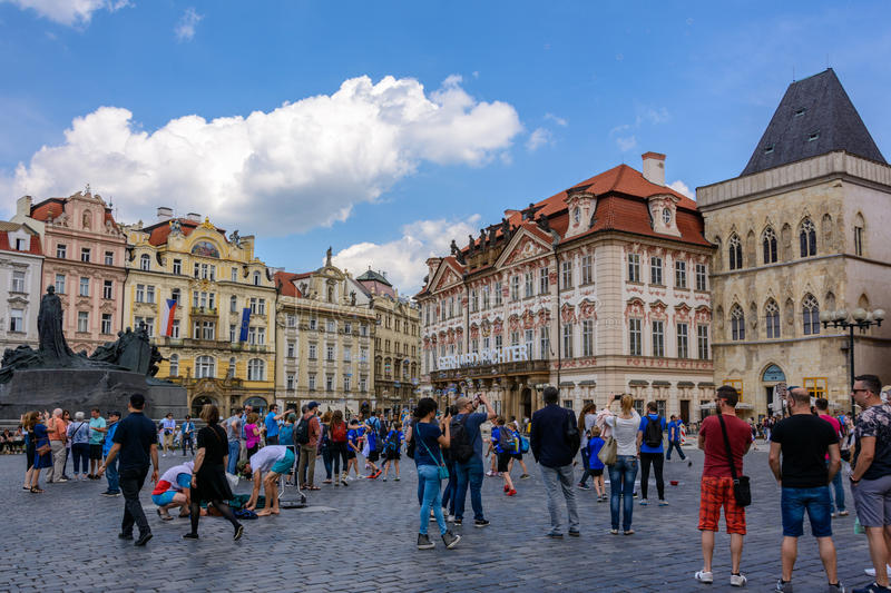 Old Town Square, Prague`s main square, Bohemia stock photography