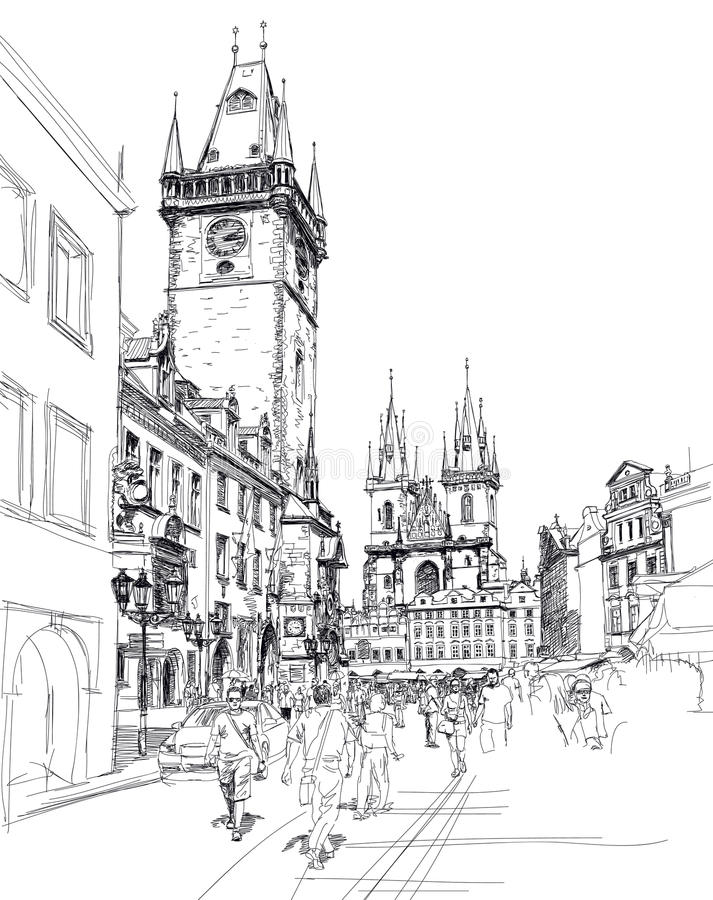 Old Town Square, Prague. Sketch Royalty Free Stock Photo