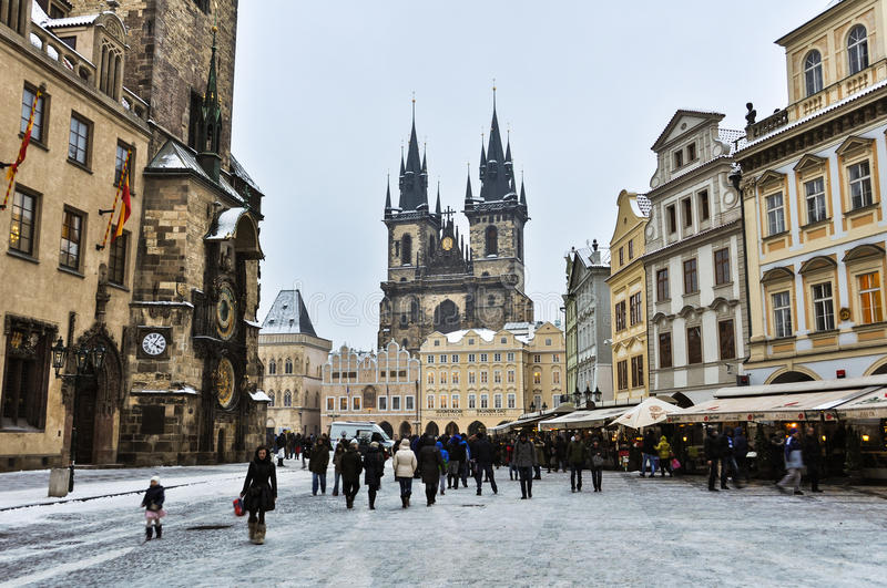 Old Town Square of Prague in Winter royalty free stock images