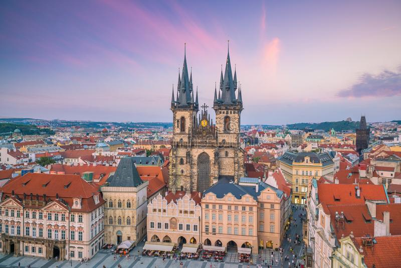Old Town square with Tyn Church in Prague, Czech Republic stock image