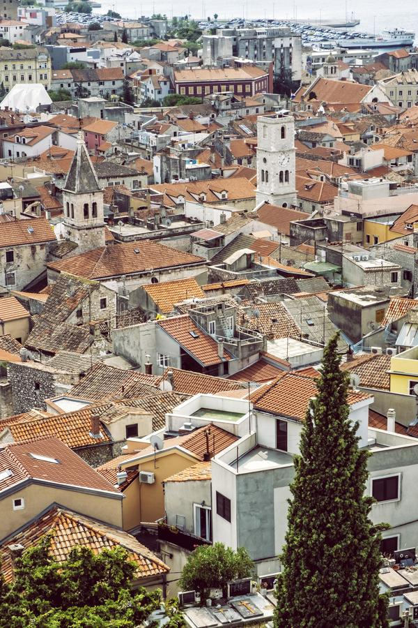 Old town from St. Michael`s Fortress, Sibenik, Croatia. Travel destination. Architectural theme stock photo