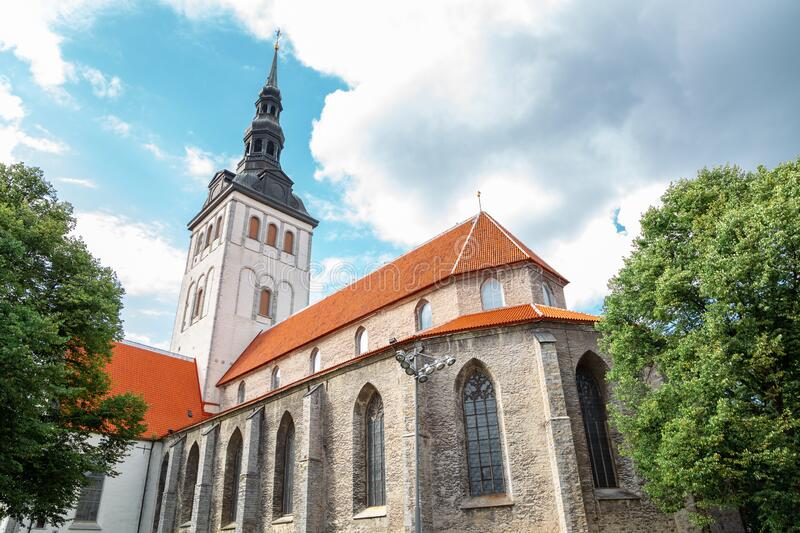 Old town St. Nicholas Church in Tallinn, Estonia. Europe stock photo