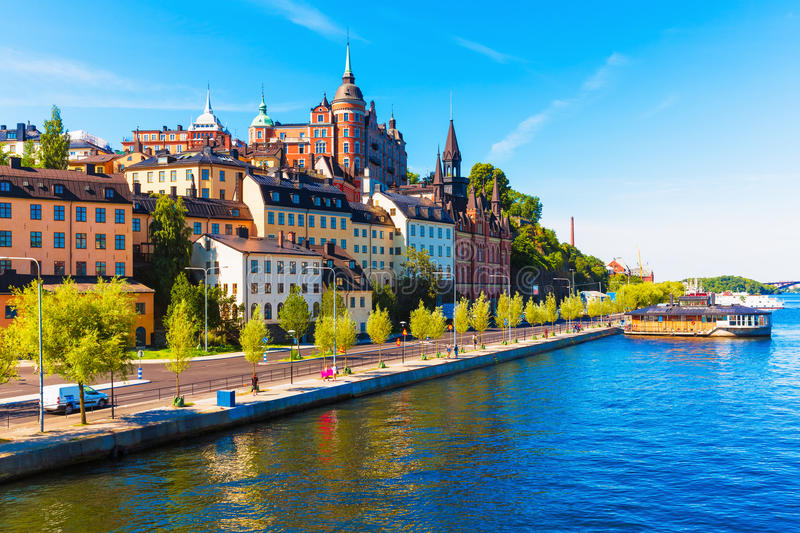 Old Town in Stockholm, Sweden. Scenic summer view of the Old Town pier architecture in Sodermalm district of Stockholm, Sweden royalty free stock photography