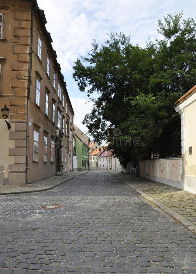 Old Town Street from Bratislava in Slovakia. On august 29 2014 royalty free stock photos