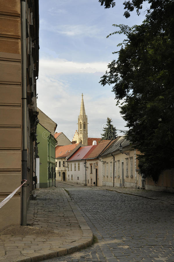 Old Town Street from Bratislava in Slovakia. On august 29 2014 royalty free stock photo