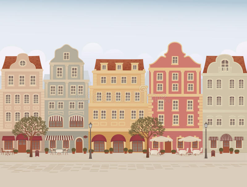 Old town street. With cafes and restaraunts royalty free illustration