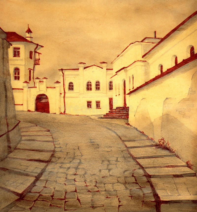 Old town street royalty free illustration