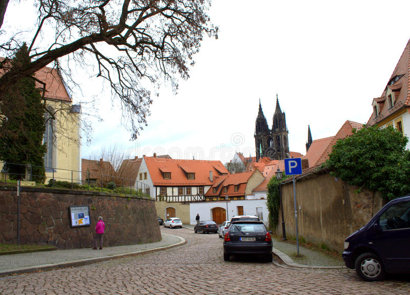 Old town street Germany. Meissen Old Town street scene ,Saxony,Germany royalty free stock photos
