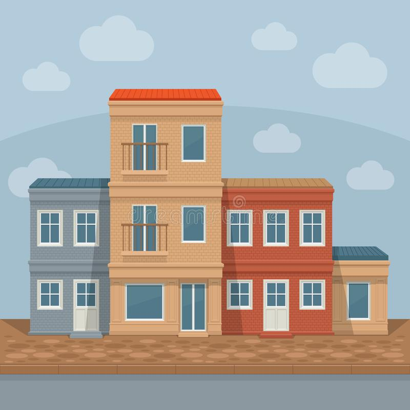 Old town street with retro building facades, front view. City ba stock illustration