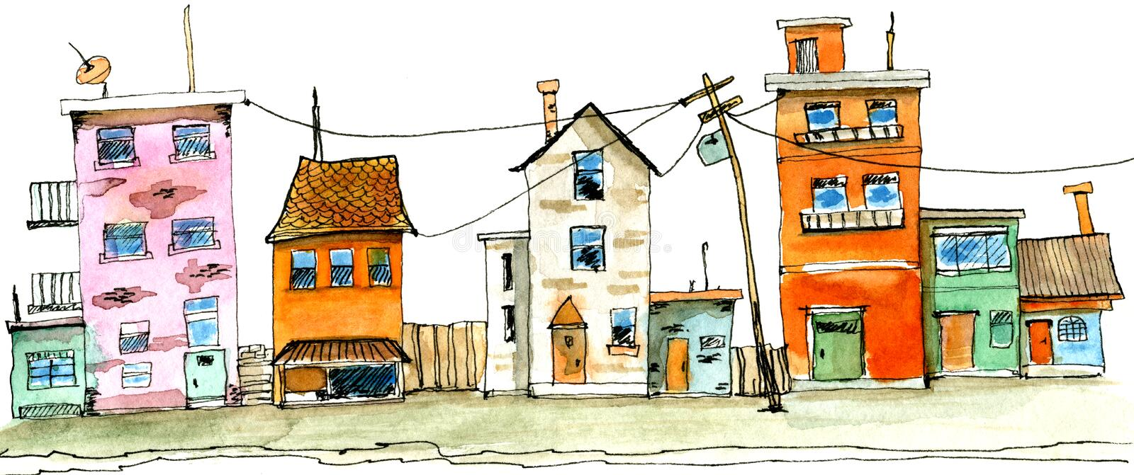 Old town street scene hand drawn watercolor illustration. Street scene in old town with colorful childish building. Watercolor illustration of cute houses on royalty free illustration