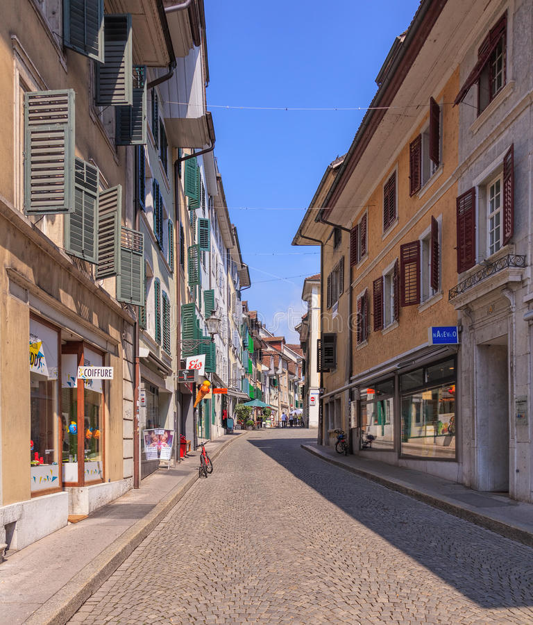 Old Town Street In Solothurn Editorial Stock Photo Image of