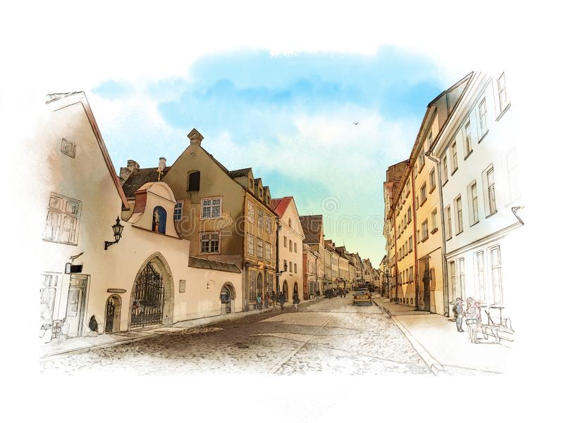 Old town, Tallinn, Estonia. Watercolor sketch. royalty free illustration