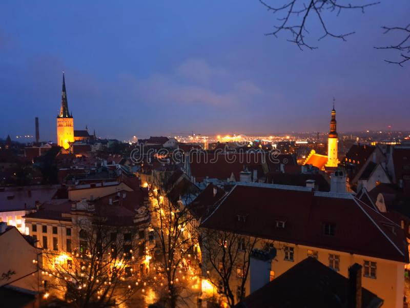 Old town Tallinn panorame Estonia red ruff city evening light reflection at night medieval city christmas decoration on trees. Old town Tallinn panorama red ruff royalty free stock image
