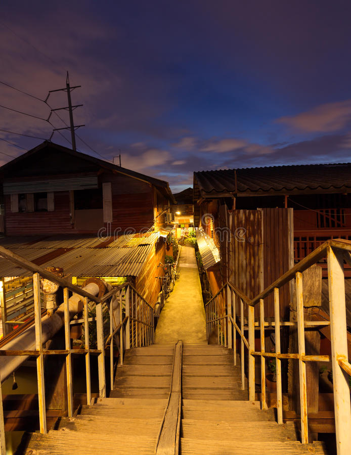 Old town in Thailand. Ladkrabang, Thailand - August 27, 2016:simple lifestyle of people at Ladkrabang canal house in the evening. Right now Bangkok have only few royalty free stock photos