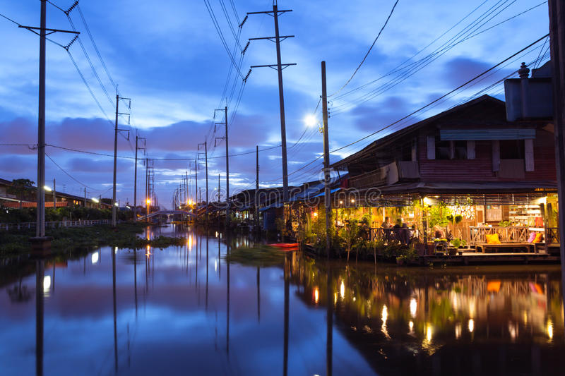 Old town in Thailand. Ladkrabang, Thailand - August 27,2016:simple lifestyle of people at Ladkrabang canal house in the evening.Right now Bangkok have only few stock photos