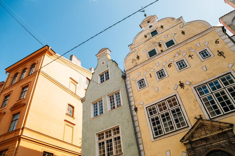 Old town Three Brothers building in Riga, Latvia. Europe stock photography