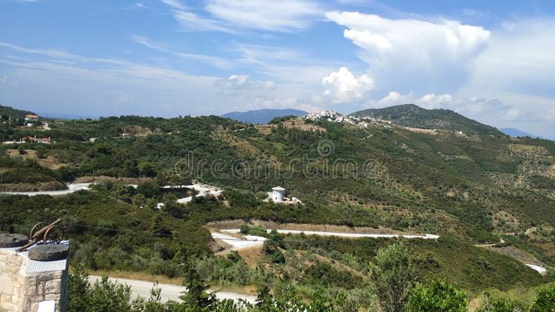 Old town on top of the hill, Greece islands stock images