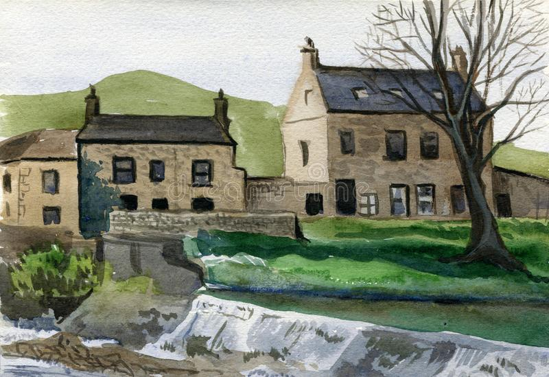 Old town traditional houses, Yorkshire, England. Watercolor hand drawn landscape. Touristic view for cards, booklets and other design royalty free illustration
