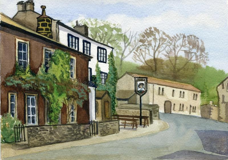 Old town traditional houses, Yorkshire, England. Watercolor hand drawn landscape. Touristic view for cards, booklets and other design stock illustration