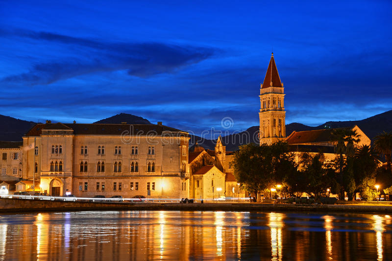 Old town of Trogir with Cathedral of Saint Lawrence by night.  stock photos