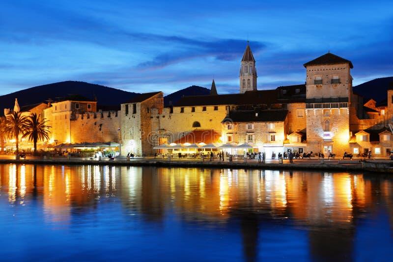 Old town of Trogir in Dalmatia, Croatia by night stock image