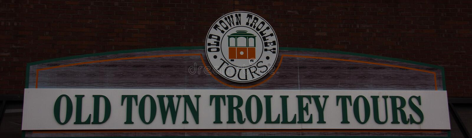 Old Town Trolley Tours Sign stock images