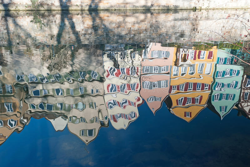 Old Town Tuebingen, Germany. Historic houses in Tuebingen, Germany, reflected in river Neckar royalty free stock images
