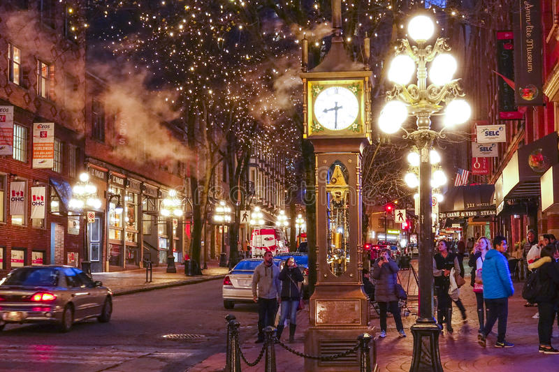The old town of Vancouver at night - Gastown district - VANCOUVER / CANADA - APRIL 12, 2017. The old town of Vancouver at night - Gastown district stock images