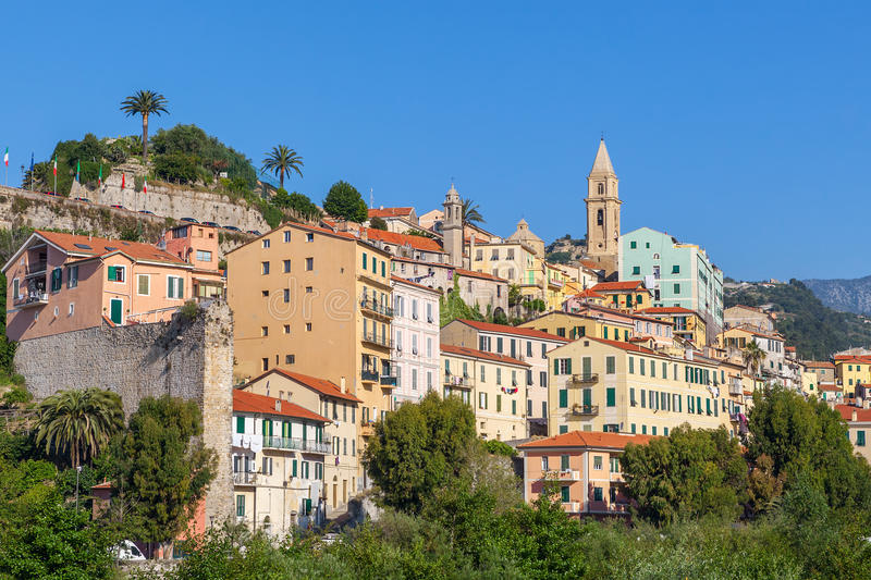 Old town of ventimiglia, Italy. Colorful houses under blue sky in old town of Ventimiglia, Italy royalty free stock image