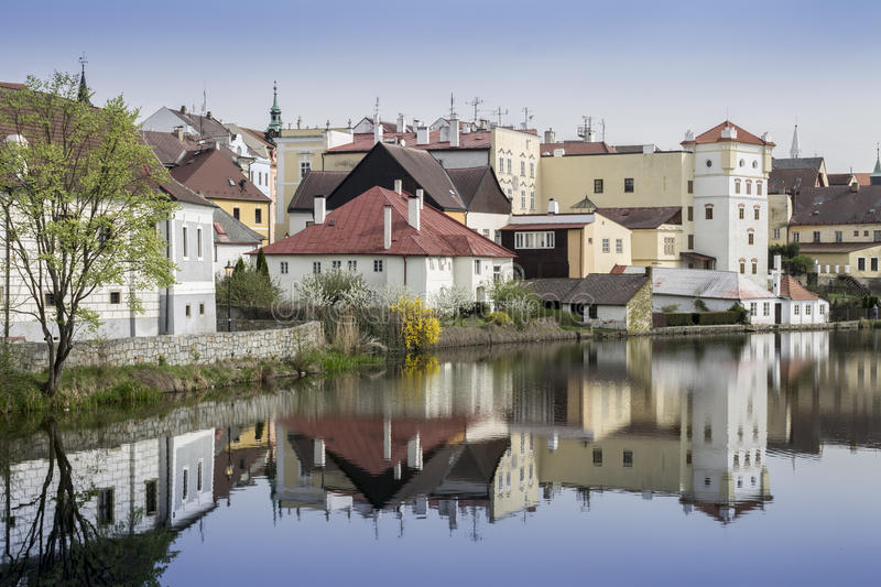 Old Town View with Lake. Jindrichuv Hradec City stock photography