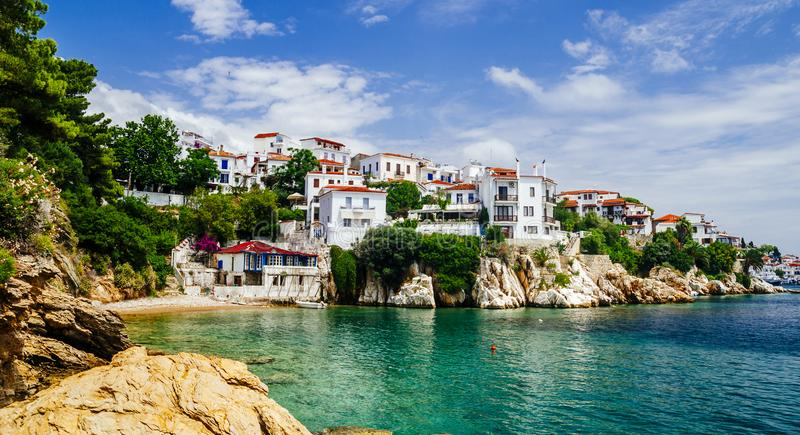 Old town view of Skiathos island, Sporades, Greece. Greek traditional architecture and aegean sea. Popular summer holiday destination scene royalty free stock images