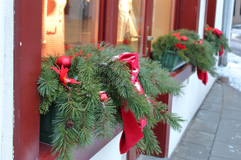 Old town of Vilnius Christmas decoration stock photography