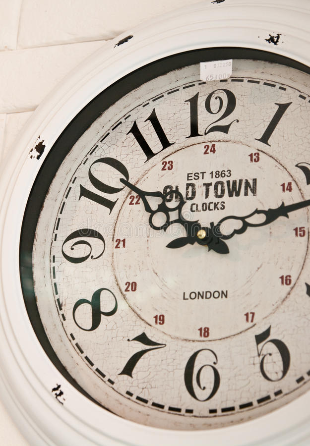 Old town wall clock face stock image
