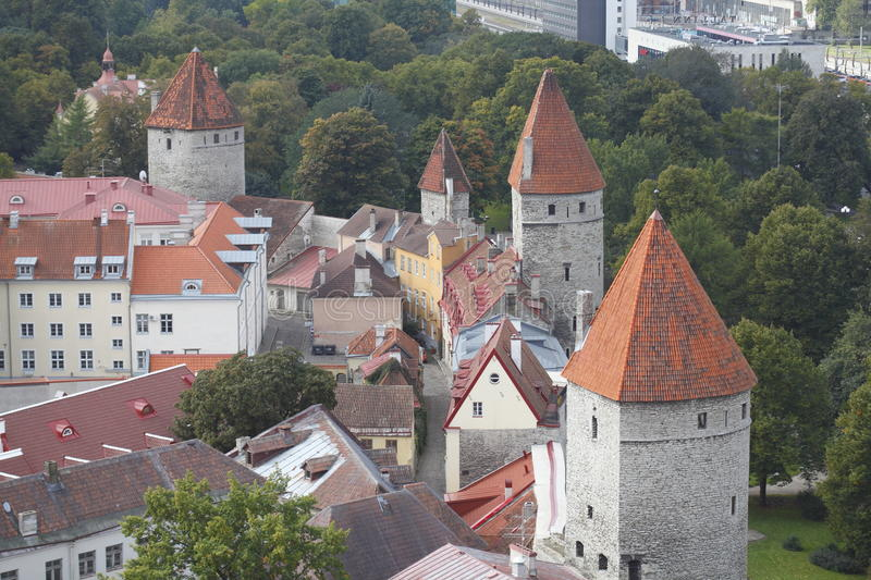 Old Town Wall and Towers, Tallinn. Estonia stock photography
