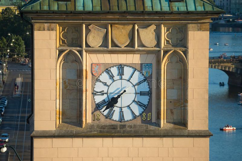 Old town water tower clock in Prague.  royalty free stock image