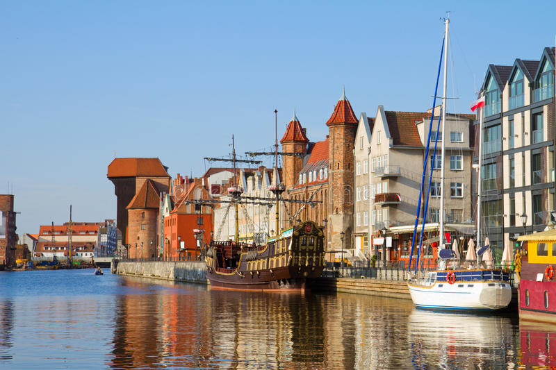 Download Old Town Waterfront Over Motlawa, Gdansk Royalty Free Stock Photography - Image: 32011797