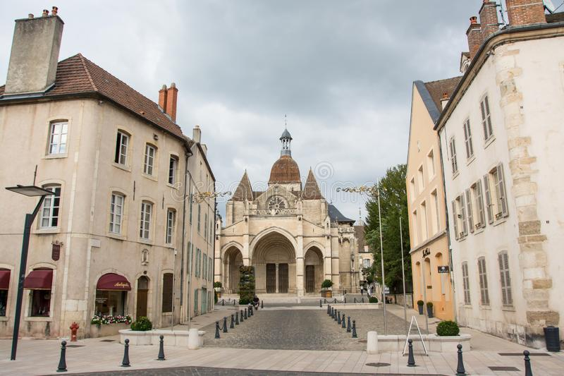 Beaune old town. Old town of the wine capital of Burgundy - Beaune, view towards the Notre Dame Collegiate Church royalty free stock images