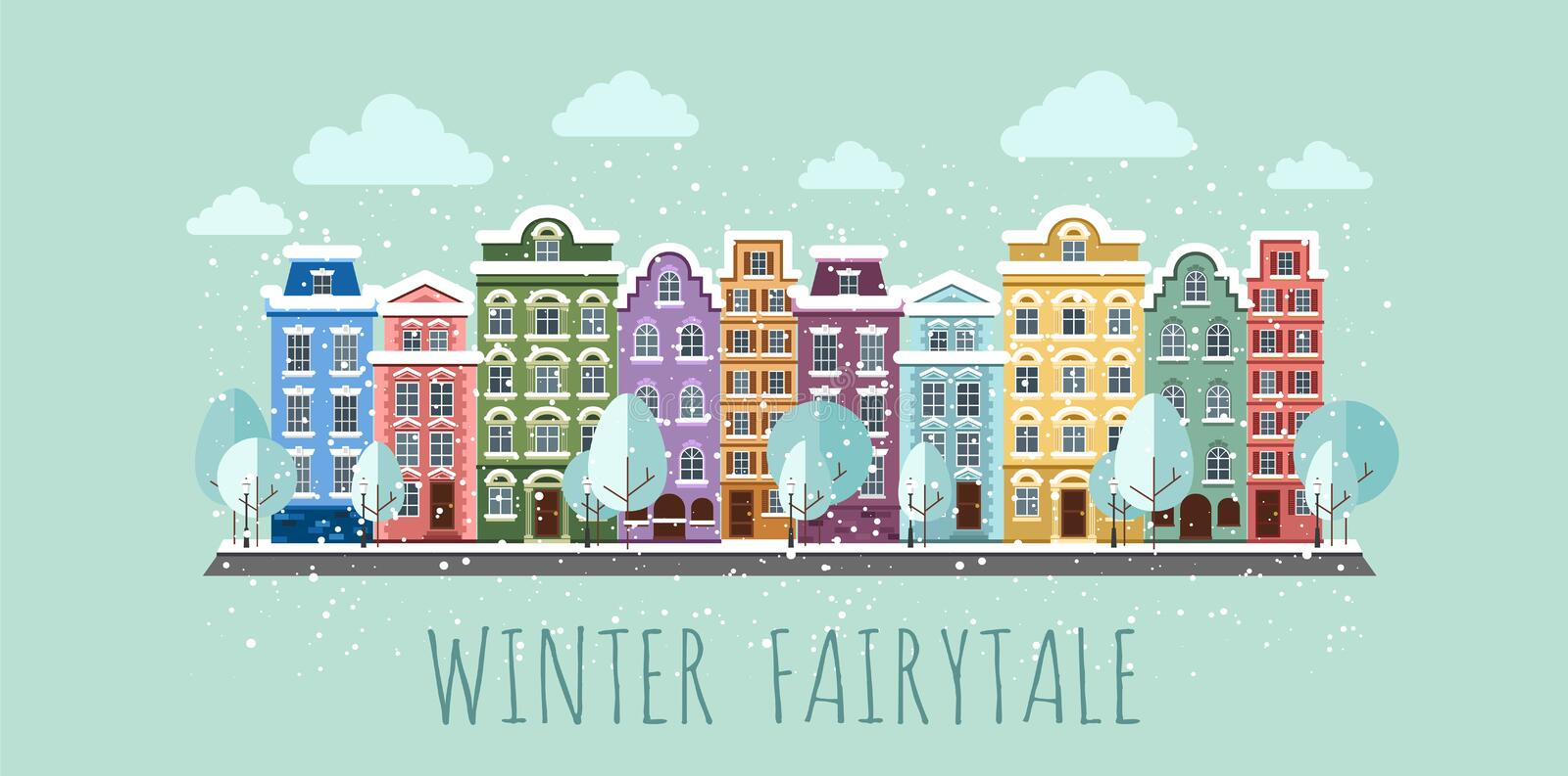 Old Town in winter. Old Town into a flat style stock illustration