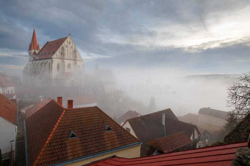 Old town of Znojmo, South Moravia, Czech Republic. Aerial view of the old town of Znojmo with St. Nicholas Church, built on the steep bank of the Thaya river royalty free stock photography