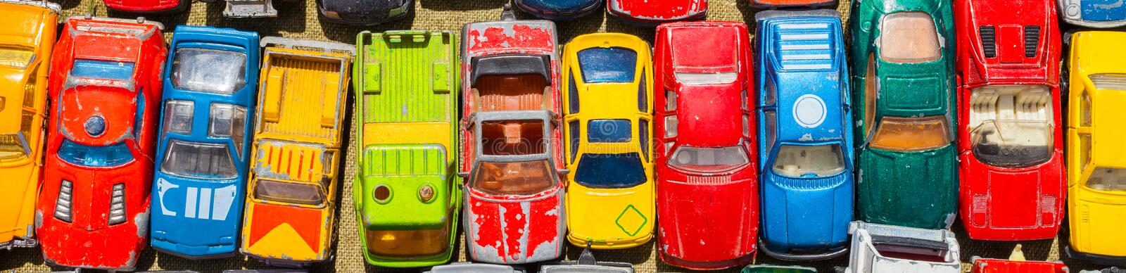 Old Toy Cars Panoramic Web Banner stock photography