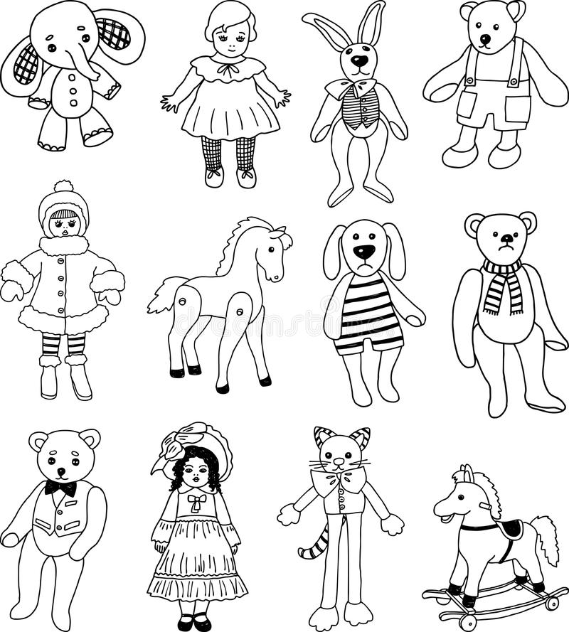 Old toys. Vector image of the old toys collection stock illustration