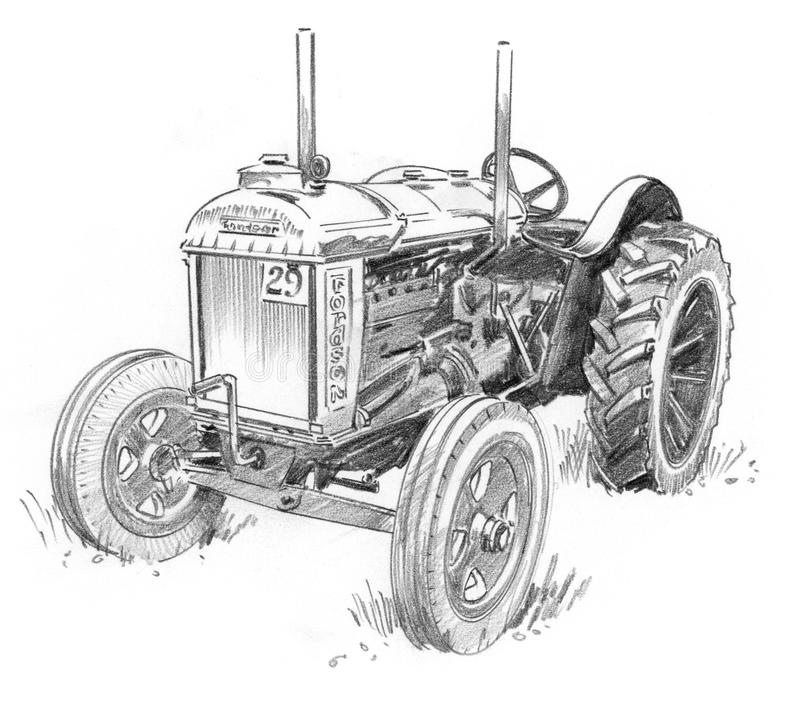 Old Tractor. Old Fordson tractor Pencil Sketch vector illustration