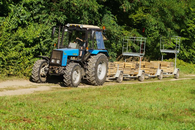 Old tractor with a device for harvesting apples. Boxes for harvesting.  stock images