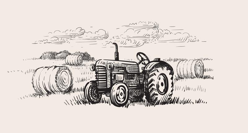 Old tractor with a rural scene. Vector hand drawn vector illustration