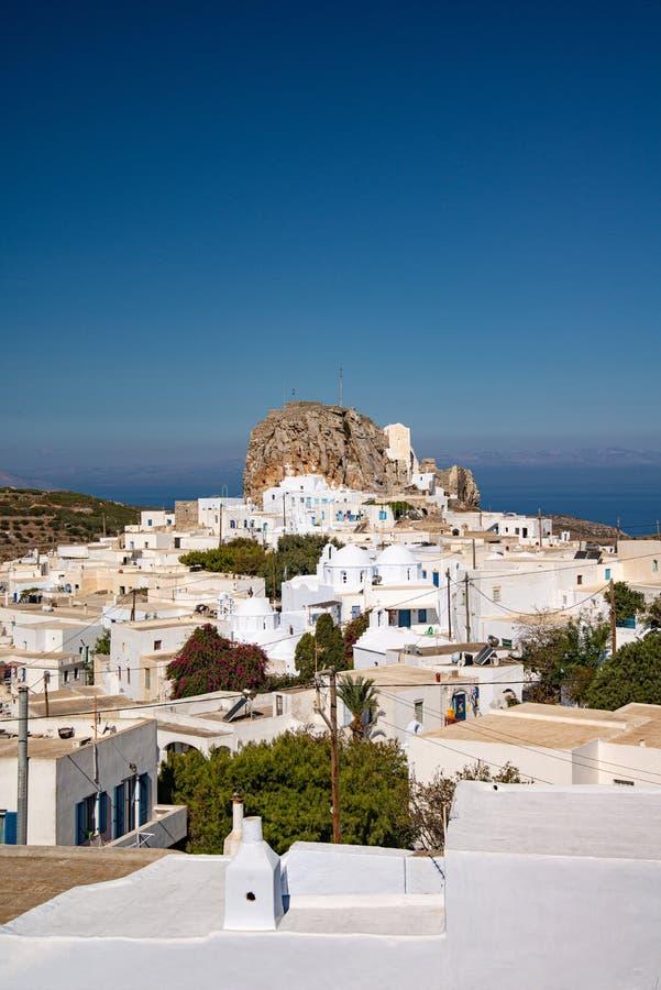 Greece, Cyclades, Amorgos island, old village chora at sunset stock photo