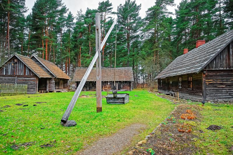 Old traditional buildings in Ethnographic open air village in Ri. Ga, Latvia royalty free stock images