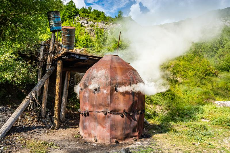 Old traditional charcoal kiln in Bosnia and Herzegovina.  royalty free stock images