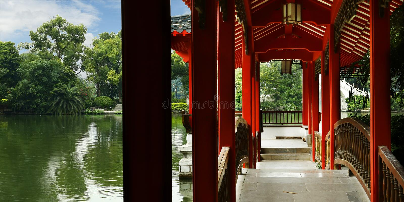 Old traditional chinese pavillon. Old Wooden traditional chinese pavillon Guilin,China royalty free stock photography