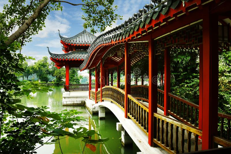 Old traditional chinese pavillon. Old Wooden traditional chinese pavillon Guilin, China stock image