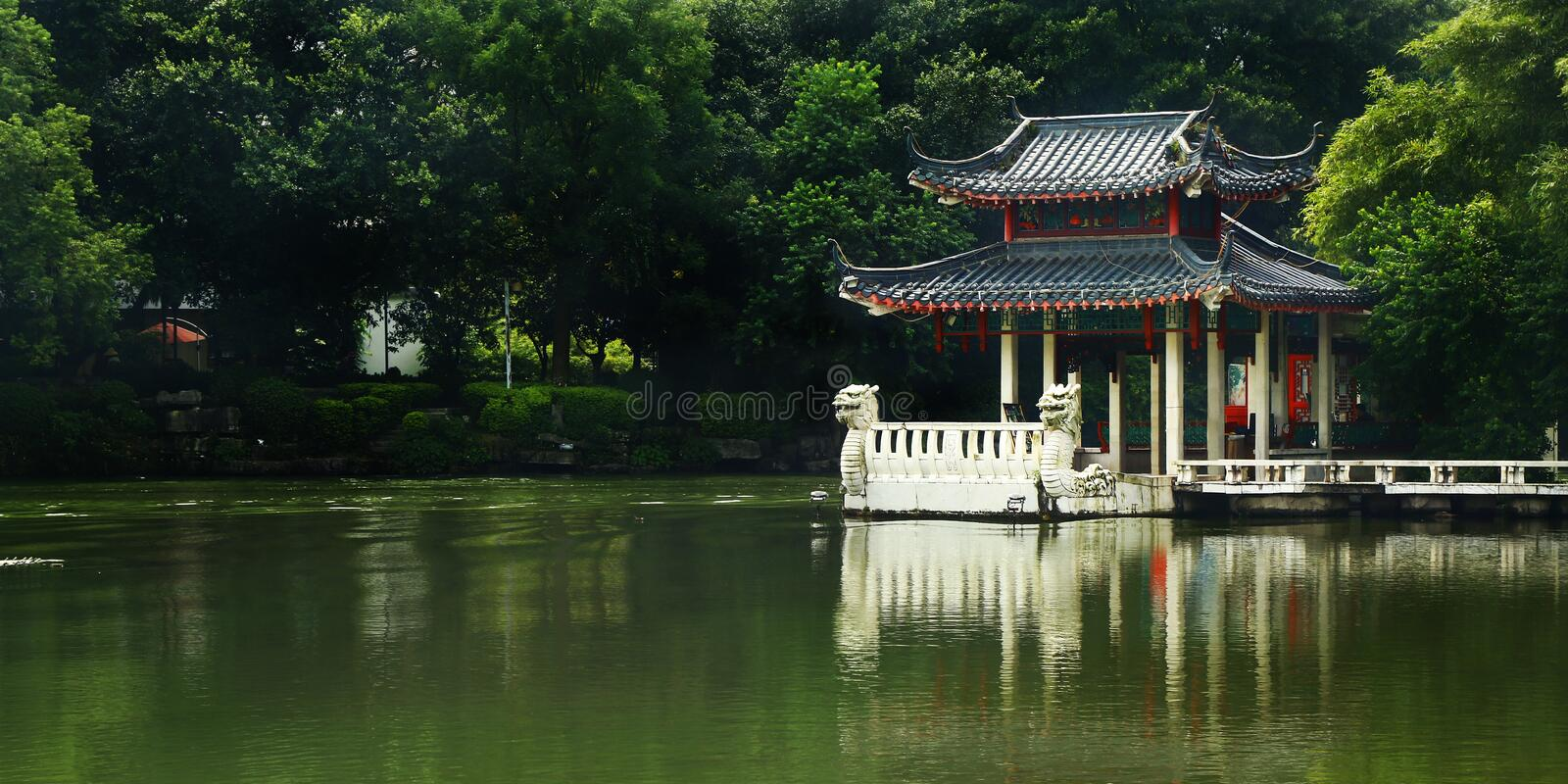 Old traditional chinese pavillon. Old Wooden traditional chinese pavillon Guilin,China royalty free stock image